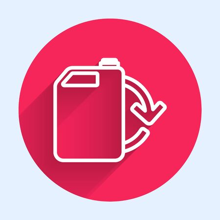 White line Eco fuel canister icon isolated with long shadow. Eco bio and barrel. Green environment and recycle. Red circle button. Vector Illustration