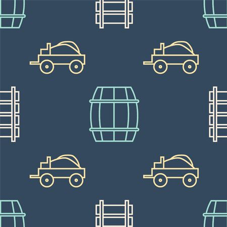 Set line Railway, railroad track, Wild west covered wagon and Wooden barrel on seamless pattern. Vector
