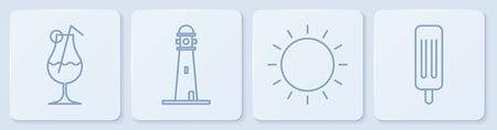 Set line Cocktail and alcohol drink, Sun, Lighthouse and Ice cream. White square button. Vector