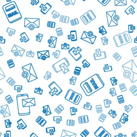 Set line Mobile and envelope, Mail box and Received message concept on seamless pattern. Vector