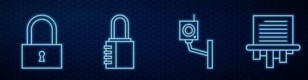 Set line Security camera, Lock, Safe combination lock and Paper shredder. Glowing neon icon on brick wall. Vector