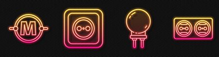 Set line Light emitting diode, Electric circuit scheme, Electrical outlet and Electrical outlet. Glowing neon icon. Vector