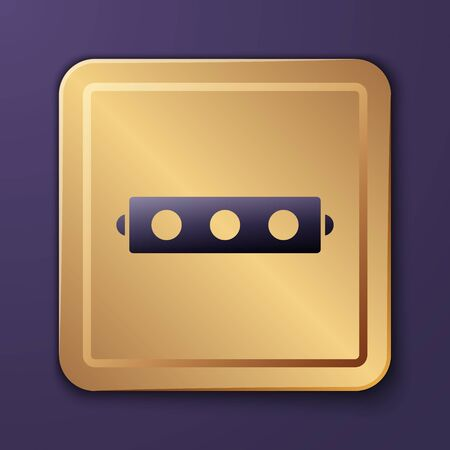 Purple Silicone ball gag with a leather belt icon isolated on purple background. Fetish accessory. Sex toy for men and woman. Gold square button. Vector Illustration Illustration