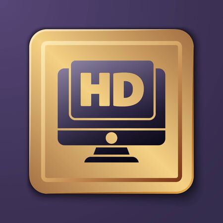 Purple Computer PC monitor display with HD video technology icon isolated on purple background. Gold square button. Vector Illustration