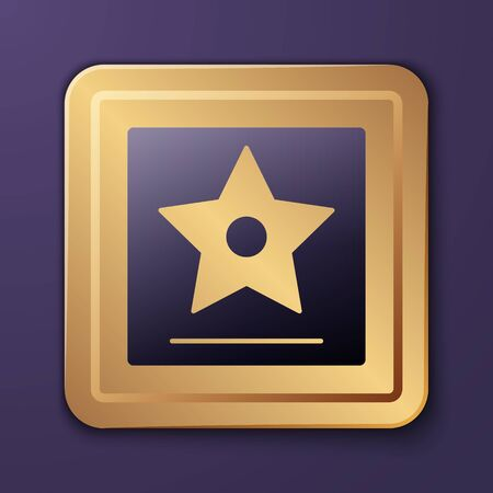 star icon isolated on  Gold square button. Vector Illustration