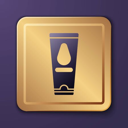 Purple Personal lubricant icon isolated on purple background. Lubricating gel. Cream for games. Tube with package box. Gold square button. Vector Illustration