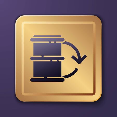 Purple Eco fuel barrel icon isolated on purple background. Eco bio and barrel. Green environment and recycle. Gold square button. Vector Illustration