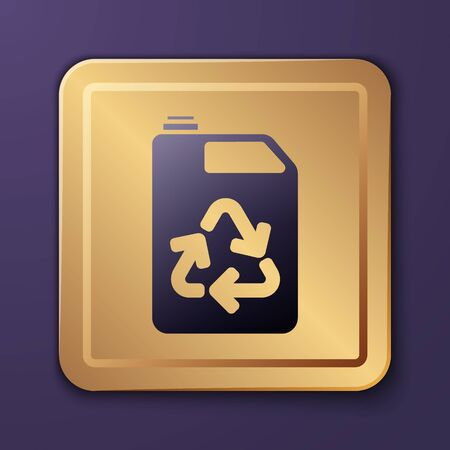 Purple Eco fuel canister icon isolated on purple background. Eco bio and barrel. Green environment and recycle. Gold square button. Vector Illustration
