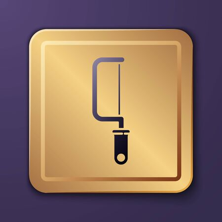 Purple Hacksaw icon isolated on purple background. Metal saw for wood and metal. Gold square button. Vector Illustration Vector Illustration
