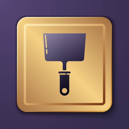 Purple Putty knife icon isolated on purple background. Spatula repair tool. Spackling or paint instruments. Gold square button. Vector Illustration Illustration