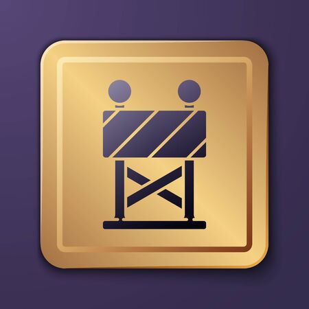 Purple Road barrier icon isolated on purple background. Symbol of restricted area which are in under construction processes. Repair works. Gold square button. Vector Illustration Illustration