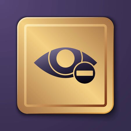 Purple Red eye effect icon isolated on purple background. Eye redness sign. Inflammatory disease of eyes. Gold square button. Vector Illustration