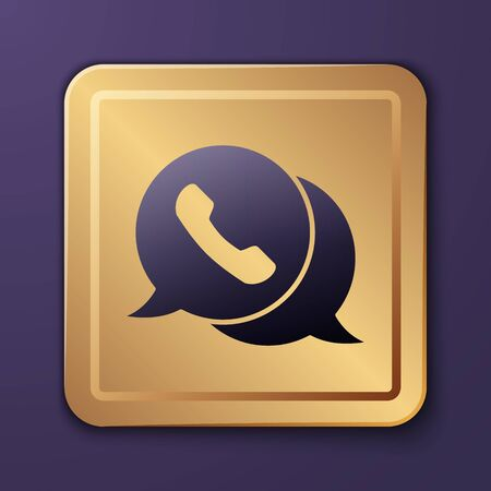 Purple Telephone with speech bubble chat icon isolated on purple background. Support customer service, hotline, call center, faq. Gold square button. Vector Illustration