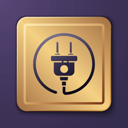 Purple Electric plug icon isolated on purple background. Concept of connection and disconnection of the electricity. Gold square button. Vector Illustration 일러스트
