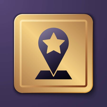 Purple Map pointer with star icon isolated on purple background. Star favorite pin map icon. Map markers. Gold square button. Vector Illustration 矢量图像
