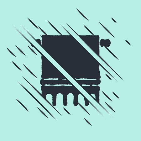 Black Towel on a hanger icon isolated on green background. Bathroom towel icon. Glitch style. Vector Illustration