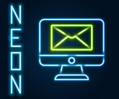 Glowing neon line Monitor and envelope, new message, mail icon isolated on black background. Usage for e-mail newsletters, headers, blog posts. Colorful outline concept. Vector Illustration