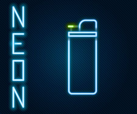Glowing neon line Lighter icon isolated on black background. Colorful outline concept. Vector Illustration