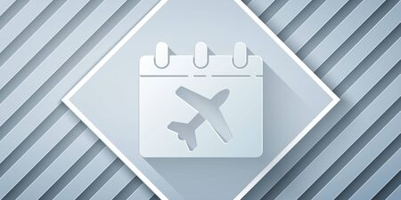 Paper cut Travel planning calendar and airplane icon isolated on grey background. A planned holiday trip. Paper art style. Vector Illustration