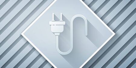 Paper cut Electric plug icon isolated on grey background. Concept of connection and disconnection of the electricity. Paper art style. Vector Illustration 일러스트