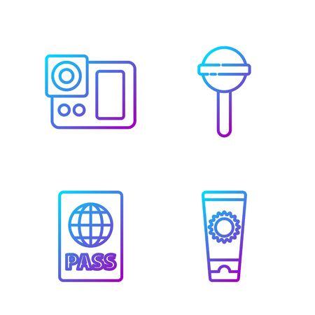 Set line Sunscreen cream in tube, Passport, Photo camera and Lollipop. Gradient color icons. Vector Ilustracja