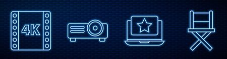 Set line Laptop with star, 4k movie, tape, frame, Movie, film, media projector and Director movie chair. Glowing neon icon on brick wall. Vector