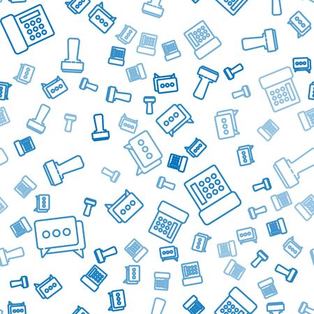 Set line Speech bubble chat, Telephone and Stamp on seamless pattern. Vector