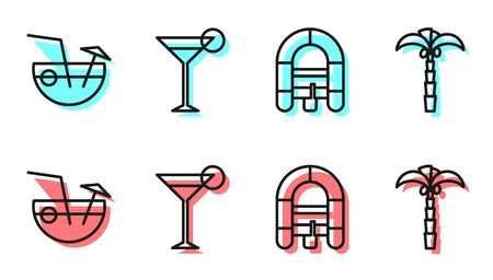 Set line Rafting boat, Coconut cocktail, Martini glass and Tropical palm tree icon. Vector