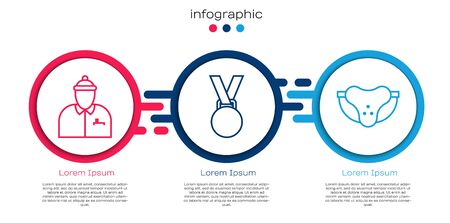 Set line Hockey coach, Medal and Protective sport jockstrap. Business infographic template. Vector