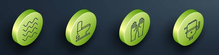 Set Isometric Wave, Toilet bowl, Rubber gloves and Electric boiler for heating water icon. Vector Illustration
