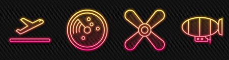 Set line Plane propeller, Plane takeoff, Radar with targets on monitor and Airship. Glowing neon icon. Vector