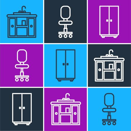 Set line Washbasin cabinet with tap, Wardrobe and Office chair icon. Vector Ilustracje wektorowe