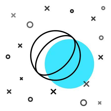 Black line Beach ball icon isolated on white background. Random dynamic shapes. Vector Illustration