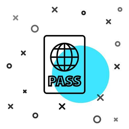 Black line Passport with biometric data icon isolated on white background. Identification Document. Random dynamic shapes. Vector Illustration