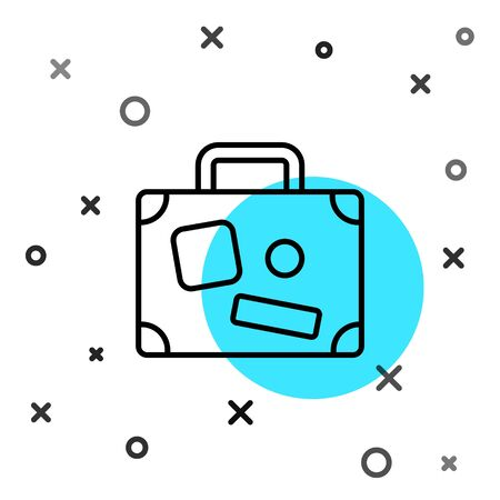 Black line Suitcase for travel icon isolated on white background. Traveling baggage sign. Travel luggage icon. Random dynamic shapes. Vector Illustration Иллюстрация