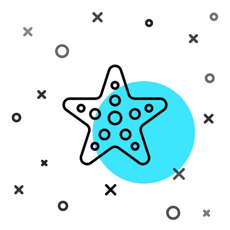 Black line Starfish icon isolated on white background. Random dynamic shapes. Vector Illustration