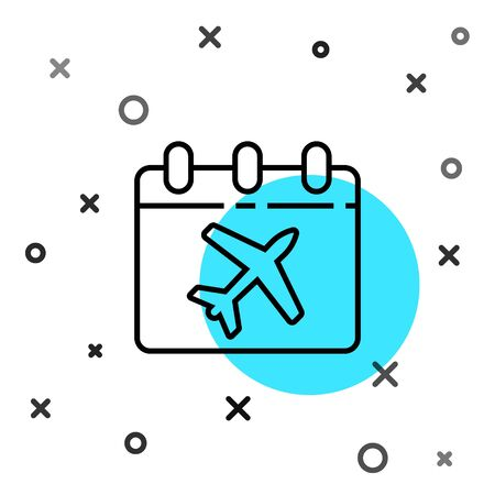 Black line Travel planning calendar and airplane icon isolated on white background. A planned holiday trip. Random dynamic shapes. Vector Illustration