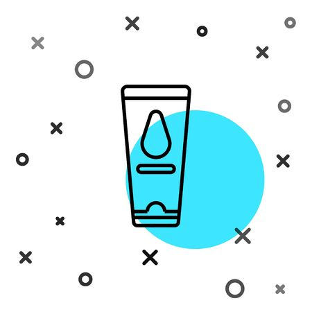 Black line Personal lubricant icon isolated on white background. Lubricating gel. Cream for games. Tube with package box. Random dynamic shapes. Vector Illustration