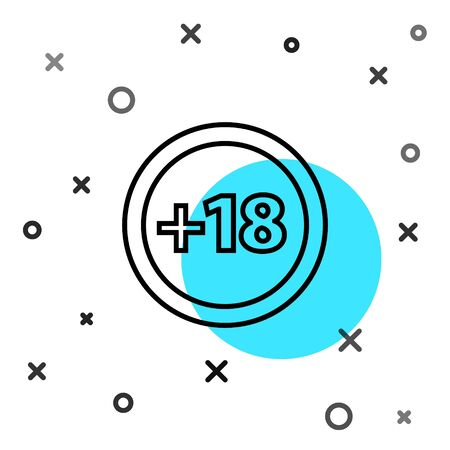 Black line Plus 18 movie icon isolated on white background. Adult content. Under 18 years sign. Random dynamic shapes. Vector Illustration