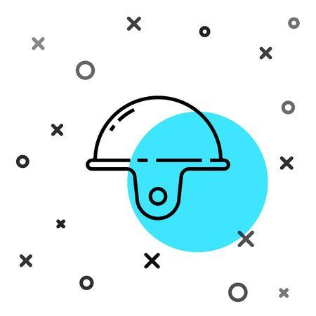 Black line Worker safety helmet icon isolated on white background. Random dynamic shapes. Vector Illustration