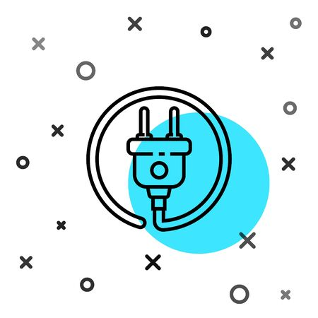 Black line Electric plug icon isolated on white background. Concept of connection and disconnection of the electricity. Random dynamic shapes. Vector Illustration 일러스트
