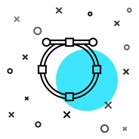 Black line Circle banner with Bezier curve icon isolated on white background. Pen tool icon. Random dynamic shapes. Vector Illustration