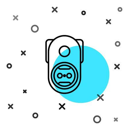 Black line Electrical outlet icon isolated on white background. Power socket. Rosette symbol. Random dynamic shapes. Vector Illustration Stock Illustratie