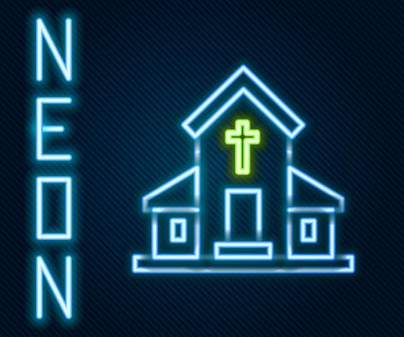 Glowing neon line Church building icon isolated on black background. Christian Church. Religion of church. Colorful outline concept. Vector Illustration Çizim
