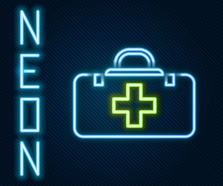 Glowing neon line First aid kit icon isolated on black background. Medical box with cross. Medical equipment for emergency. Healthcare concept. Colorful outline concept. Vector Illustration
