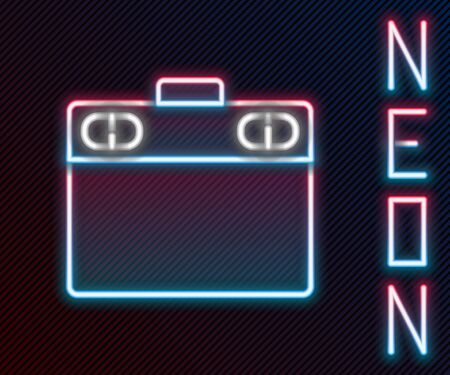 Glowing neon line Graphic tablet icon isolated on black background. Colorful outline concept. Vector Illustration