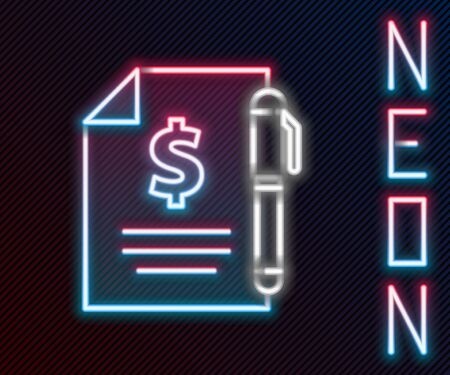 Glowing neon line Contract money and pen icon isolated on black background. Banking document dollar file finance money page. Colorful outline concept. Vector Illustration