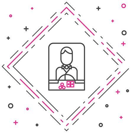 Line Casino dealer icon isolated on white background. Casino croupier. Colorful outline concept. Vector Illustration Ilustracje wektorowe