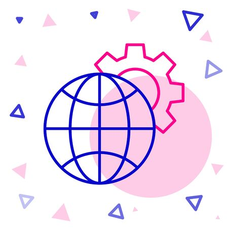 Line Globe of the Earth and gear or cog icon isolated on white background. Setting parameters. Global Options. Colorful outline concept. Vector Illustration