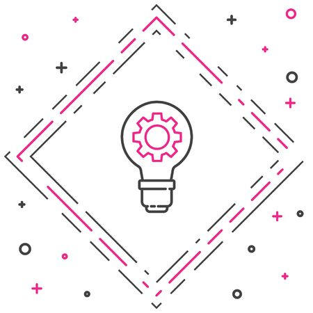 Line Light bulb and gear icon isolated on white background. Innovation concept. Business idea. Colorful outline concept. Vector Illustration Vectores